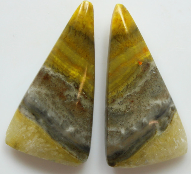 18.50 CTS MUSTARD JASPER PAIR CABOCHONS FROM INDONESIA