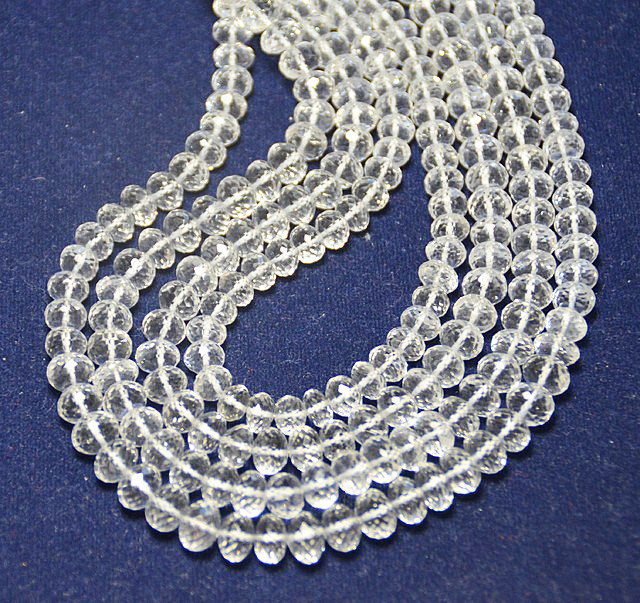 8mm - 8.5mm white Diamond quartz faceted beads 15 - 16