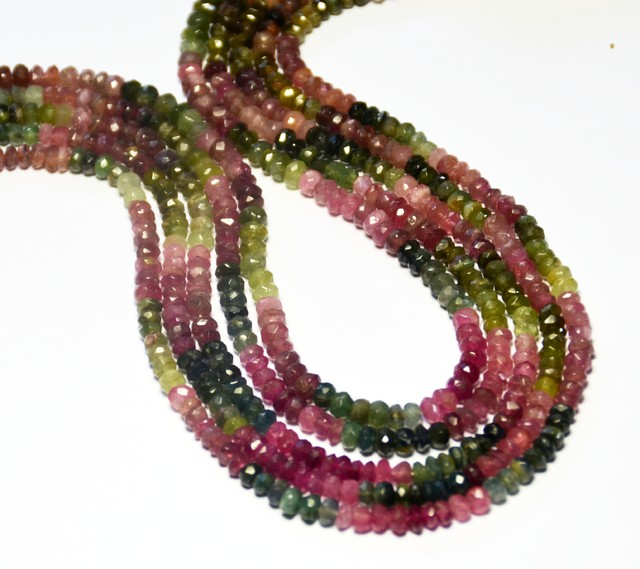 "NEW ARRIVAL 6.5"" line AA WATERMELON TOURMALINE beads3-4mm"