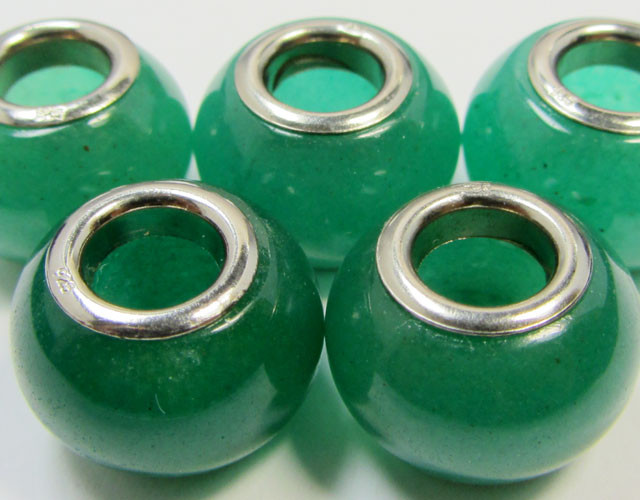 15 MM  NEW  AVENTURINE BEADS SILVER 925 AGR 215