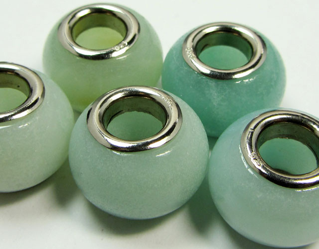 15MM NEW AMAZONITE BEADS SILVER 925  AGR 220