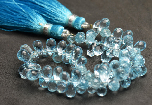 """BLUE TOPAZ faceted briolettes 5mm - 7mm AAA 7"""" line"""