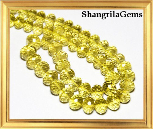 7mm to 9mm Gold COGNAC QUARTZ  faceted beads rondelles 15