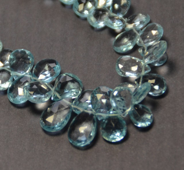 "7mm to 11mm  BLUE TOPAZ drop faceted briolettes 8"" line"