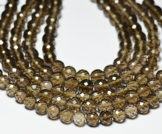 6mm SMOKEY QUARTZ AAA round faceted beads 8
