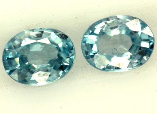 BLUE ZIRCON FACETED STONE (2PCS) 1.00 CTS  PG-1057