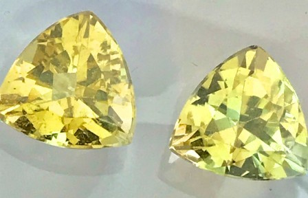 CERTIFIED 3.4 ct Sparkling Triliant Cut Yellow Beryl Pair  A515 - F12
