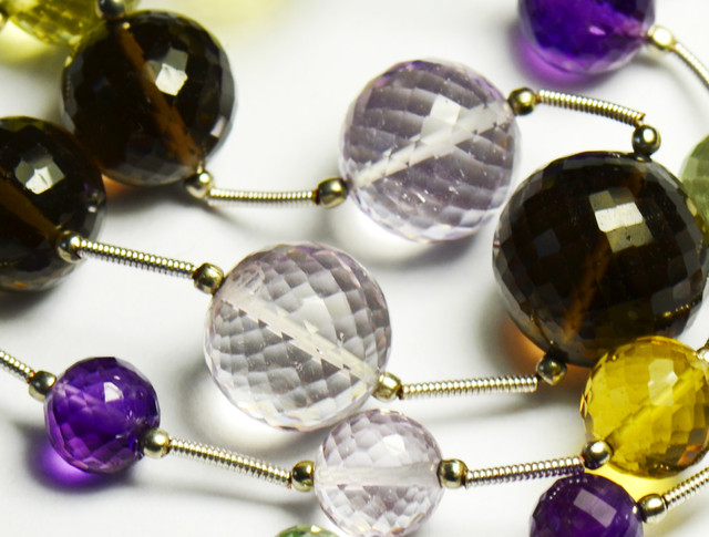 "Mixed Amethyst Quartz round faceted ball beads 16"" line"