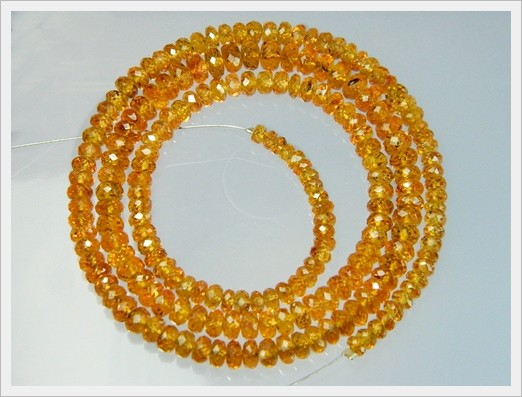 """3-5mm 87cts 18"""" Mozambique Spessartite Faceted Beads J5"""