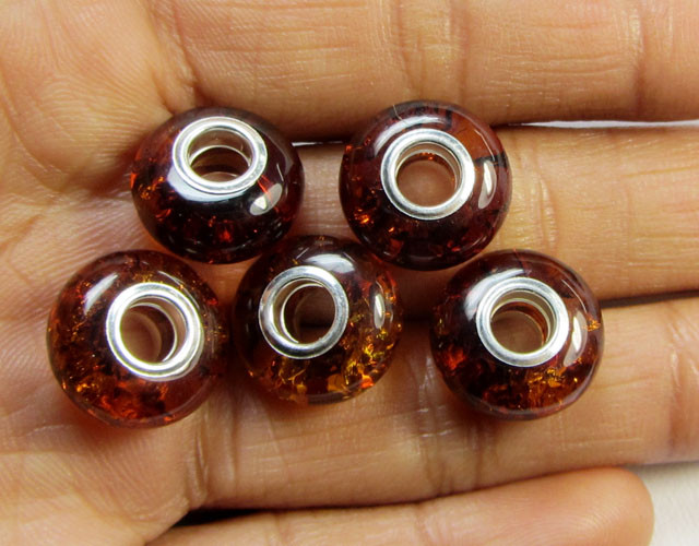 14 MM    5 PCS NATURAL  AMBER  BEADS 22.80 CTS  AGR301