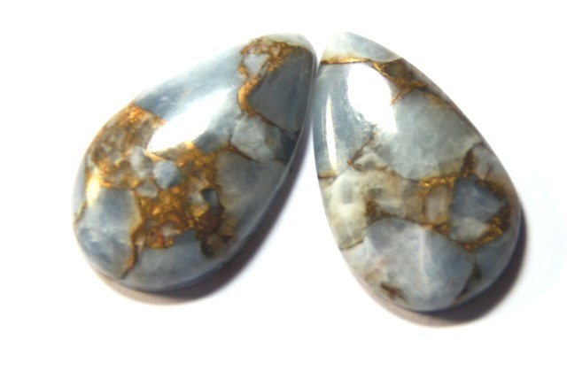 NEW    23MM DROP SHAPE  Mojave Calcite cabochon pair of gems