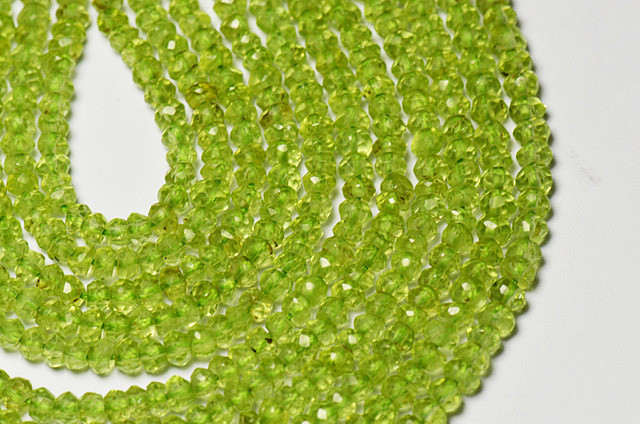 "NEW ITEM 2.5-3mm Peridot faceted Israeli beads 14"" line"