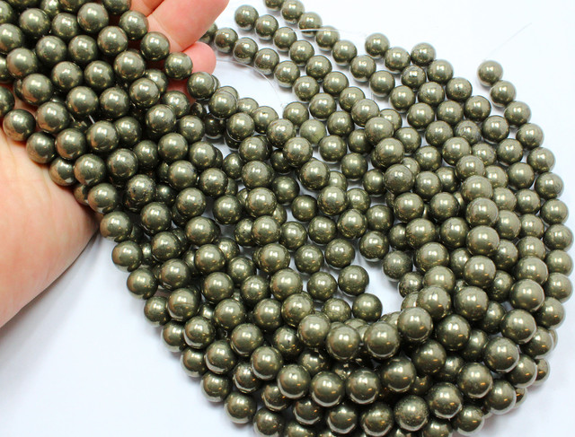 312 CTS -3STRAND PYRITE BEADS 10 MM ROUND 15 INCHES + CLASP P141
