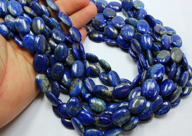 750 CTS 3 STRAND LAPIS OVAL 18 X 13 MM 15 INCH + CLASP