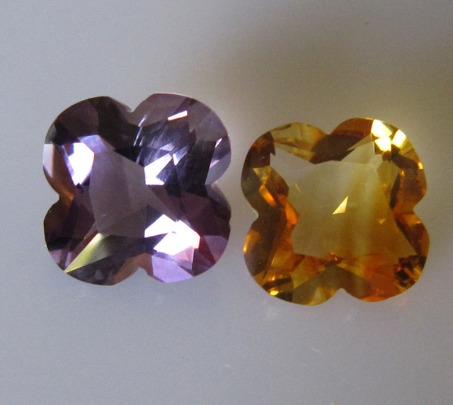 Matching Set Amethyst and Citrine Flower Cut 9.33cts
