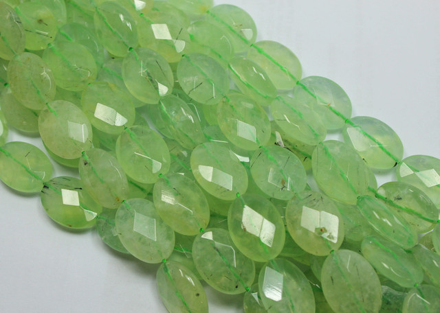 795CTS-3 STRAND PREHNITE OVAL FACETED 18X13MM 16INCH + CLASP