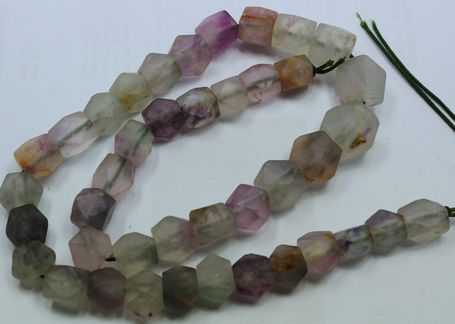 345CTS-1 STRAND FLUORITE BEADS 16 INCH + CLASP