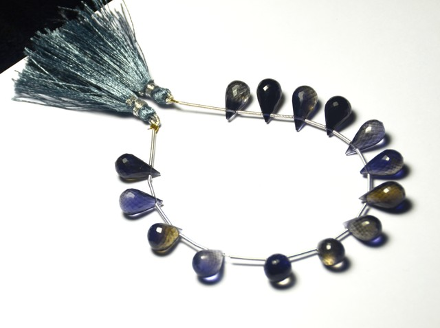 NEW ITEM Superb Kakanili AA IOLITE faceted briolettes 12-15m