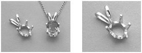 7x5mm Oval Six Prong Pre-Notched Pendant Setting in Sterling