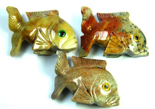 PARCEL 3 CUTE FISH ROCK CARVINGS  FROM PERU       AAA 1029