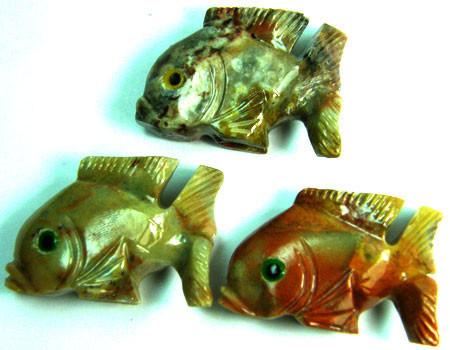 PARCEL 3 CUTE FISH ROCK CARVINGS  FROM PERU  AAA 1038