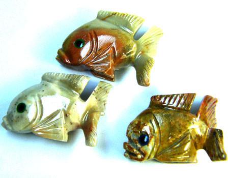 PARCEL 3 CUTE FISH ROCK CARVINGS  FROM PERU   AAA 1042