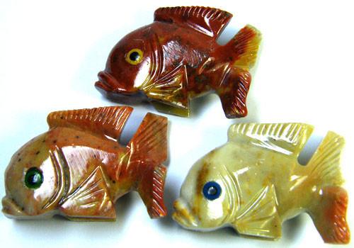PARCEL 3 CUTE FISH ROCK CARVINGS  FROM PERU   AAA 1044
