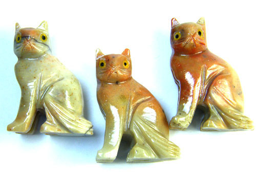 PARCEL 3 CUTE CAT ROCK CARVINGS  FROM PERU    AAA 1062