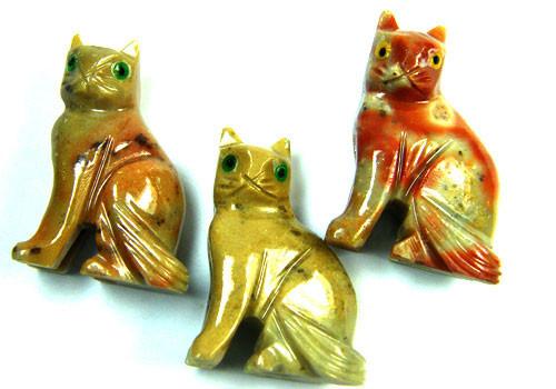 PARCEL 3 CUTE CAT ROCK CARVINGS  FROM PERU    AAA 1063