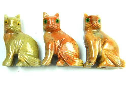 PARCEL 3 CUTE CAT ROCK CARVINGS  FROM PERU    AAA 1068
