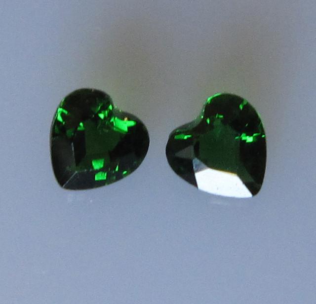 Chrome Tourmaline Matching Hearts, 0.67cts