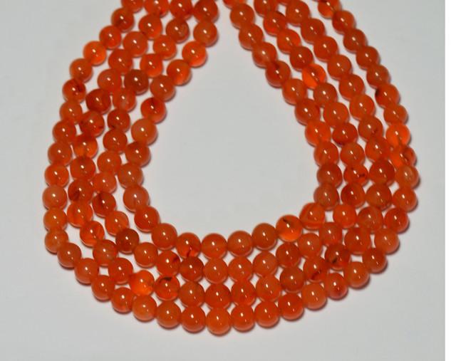 "CARNELIAN round gemstone beads  6-7mm 14"" line"