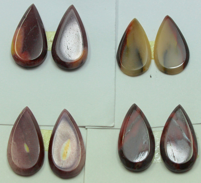 37.00 CTS -  4 SETS OF MOOKAITE JASPER  PAIR PARCEL DEAL