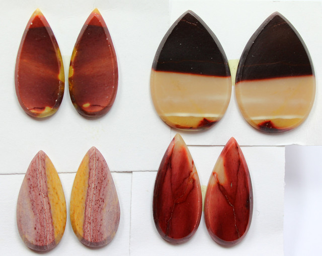 74.80 CTS -  4 SETS OF MOOKAITE JASPER  PAIR PARCEL DEAL