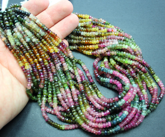 70 CTS 1 STRAND NATURAL MULTI COLOR TOURMAILINE BEADS +CLASP