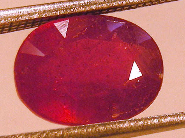CERT 3.86 CTS FACETED RASPBERRY RED RUBY  11 999