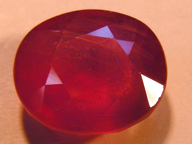 CERT 14.81 CTS FACETED RASPBERRY RED RUBY  11 1002