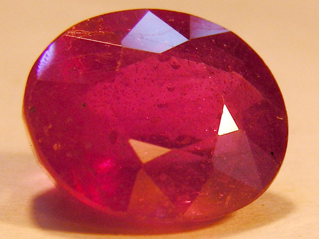 CERT 5.73 CTS FACETED RASPBERRY RED RUBY  11 1009