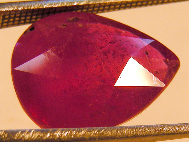 CERT 8.50 CTS FACETED RASPBERRY RED RUBY  11 1014