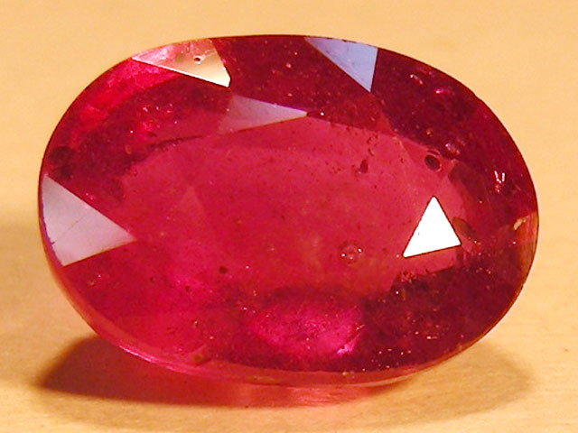 CERT 4.76 CTS FACETED RASPBERRY RED RUBY  11 1028