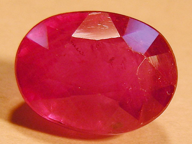 CERT 3.55 CTS FACETED RASPBERRY RED RUBY  11 1035