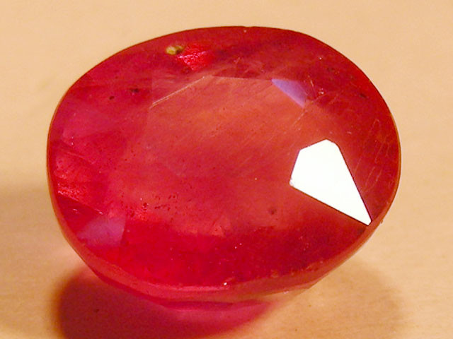 CERT 4.36 CTS FACETED RASPBERRY RED RUBY  11 1041