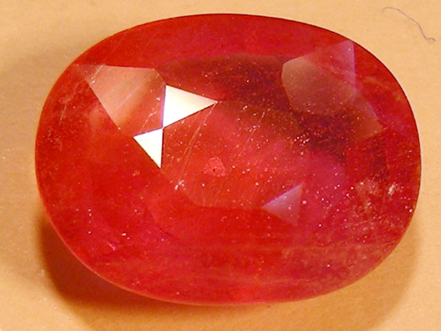 CERT 3.97 CTS FACETED RASPBERRY RED RUBY  11 1043
