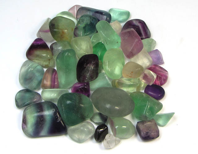 200 GRAMS TUMBLED   NATURAL  FLUORITE STONES MS1504