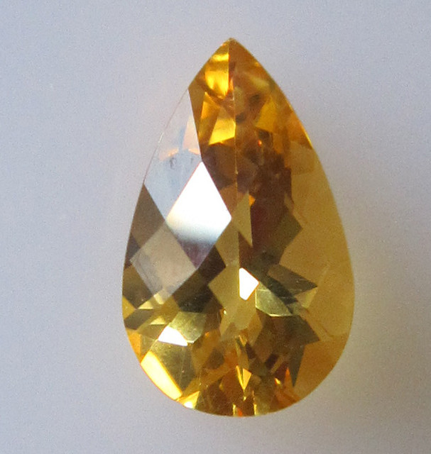Golden Yellow Citrine Checker Board Pear Shape, 2.22cts