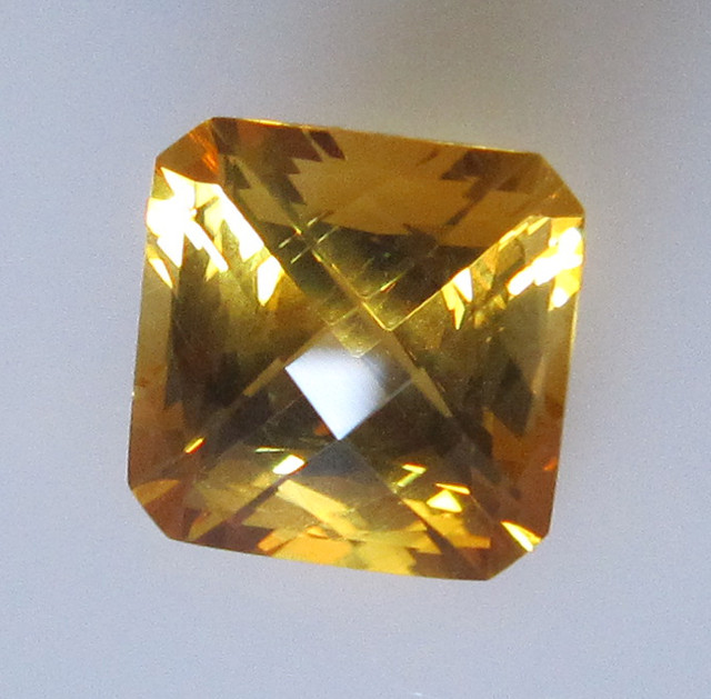 Golden Yellow Citrine Checker Board Radient Cut, 4.24cts