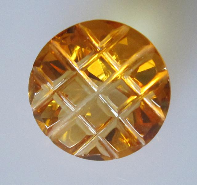 Golden Yellow Citrine Checker Board Round Cut, 6.55cts