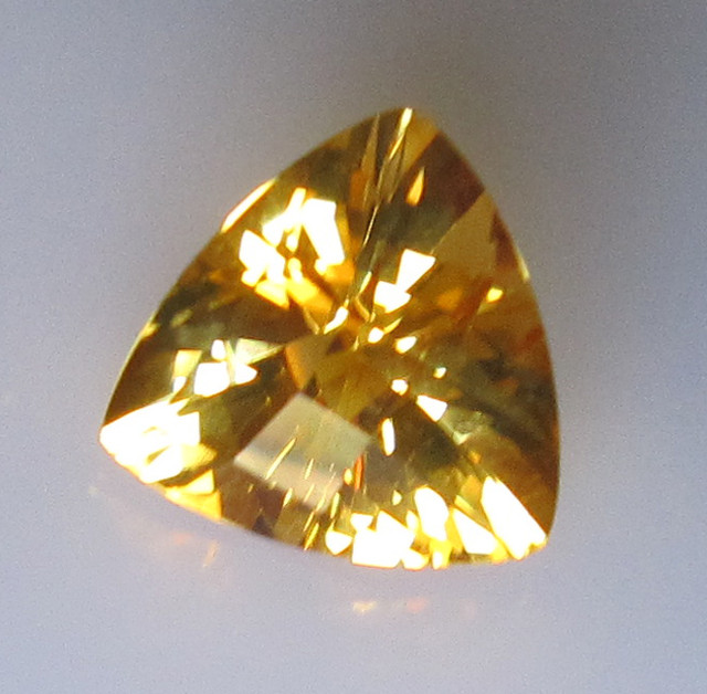 Golden Yellow Citrine Checker Board Trillion Shape, 2.70cts