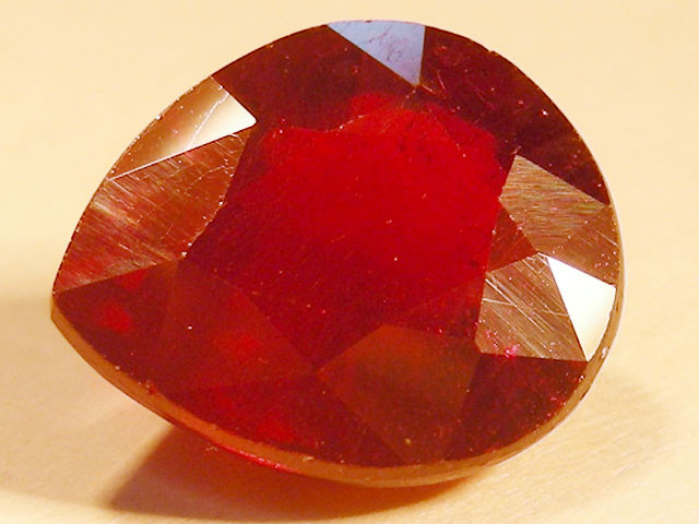 CERT 5.87 CTS FACETED RASPBERRY RED RUBY  11 1065