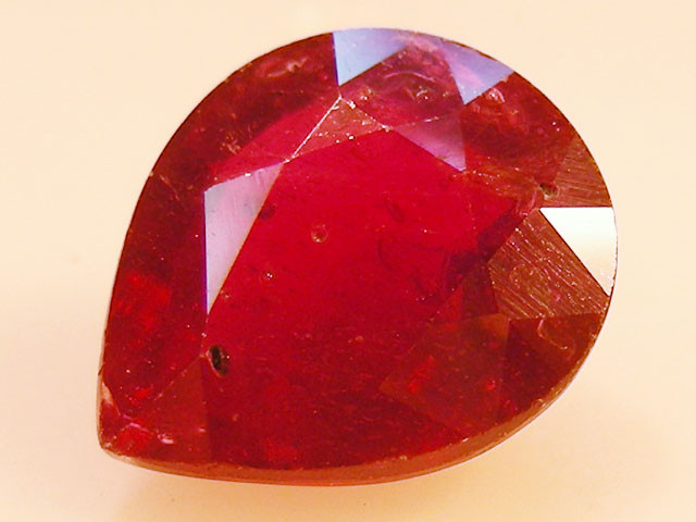 CERT 4.86 CTS FACETED RASPBERRY RED RUBY  11 1075